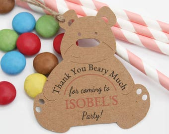 x10 Girls Teddy Bears Picnic Party Favour Thank You tags Personalised