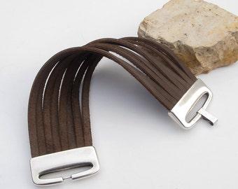 Women's leather cuff bracelet with matt silver large clasp, Design leather cuff bracelet