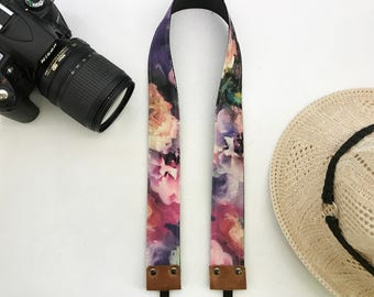 NuovoDesign tasteful and unique 'Blossoms by the Dream' tie dyed fabric Camera neck strap