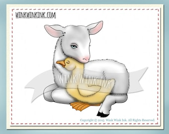 Digital Stamp - Farm Friends - baby goat and duckling digi image