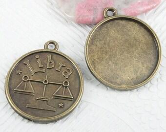 12pc antiqued bronze round Libra constellation cabochon setting EF0924