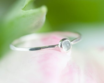 Tiny Aquamarine ring - skinny silver stacking ring with rose cut Aquamarine stone, March birthstone 3mm