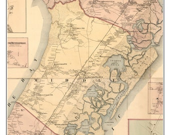 Middle Township - Cape May County - New Jersey 1872 - Town Map Reprint with Homeowner Names