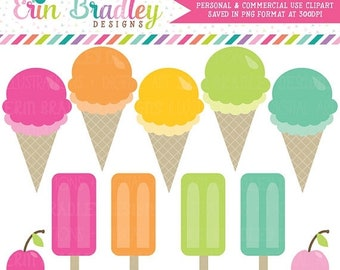 80% OFF SALE Ice Cream Party Clipart Clip Art Personal and Commercial Use Graphics Instant Download