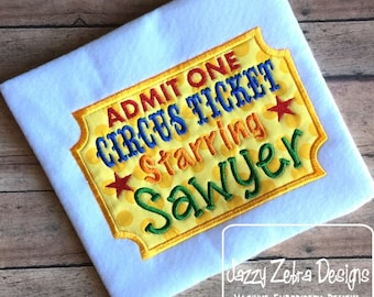 Circus Ticket Applique embroidery Design - circus applique design - ticket applique design