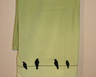 Apple green Flour sack kitchen/dishtowel, with birds and feather print