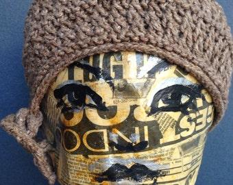 Coffee Cloche handknit hat yarn beret lace pattern bow
