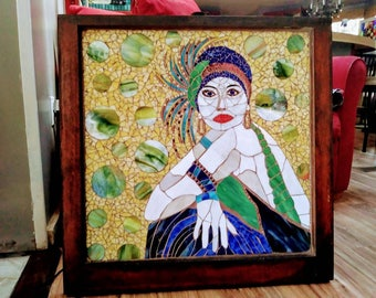 Stained glass mosaic flapper girl  wall hanging on repurposed window