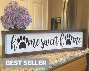 Home Sweet Home Sign | Farmhouse Sign | Wood Signs | Rustic Decor | Dog Signs