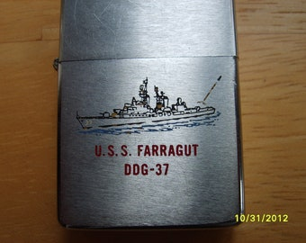 Vintage Zippo Lighter, 1975 USS Farragut DDG-37, Military Collectible, Cigarette Lighter 1975 zippo, War Collectible