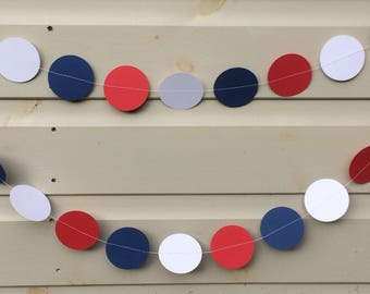 Red, White and Blue Circle Garland, Decorations, Party Decorations, Celebrations