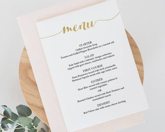 Printable Gold Menu Template Instant Download Menu X