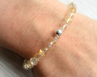 Faceted Citrine Bracelet, Birthstone Bracelet, November Birthday, Sterling Silver, Gemstone Bracelet