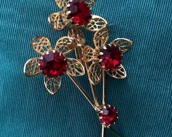 Vintage Gold Flower Garnet Red Brooch Pin