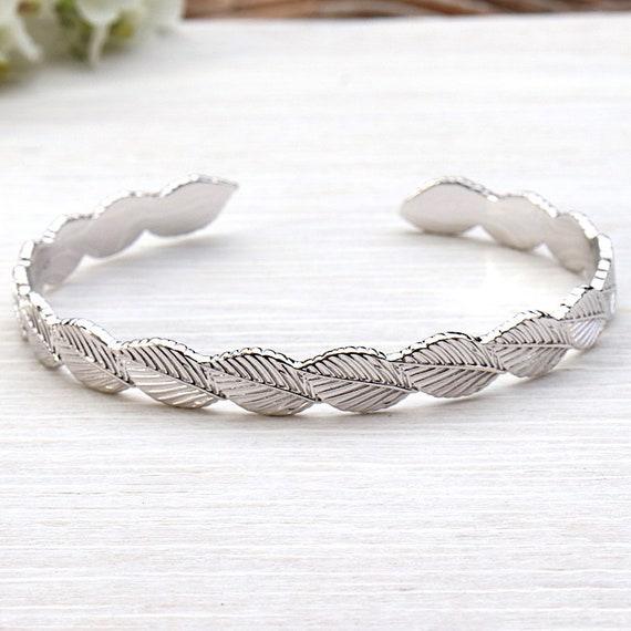 for women 925 sterling silver leaf Bangle Bracelet