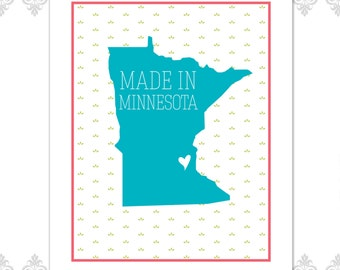Made in Minnesota Heart Print (Available in all states)