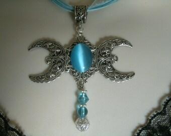 Triple Luna diosa collar, joyería Wicca pagana joyería wicca joyería diosa joyería brujería bruja metafísica magia handfasting
