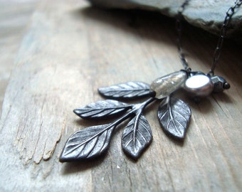 Winter Leaves Necklace - Labradorite and Gray Pearl. Winter Weddings Bridesmaid Necklace Nature Inspired Gemstone Necklace Leaf Jewelry