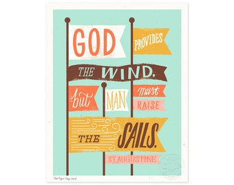 God Provides the Wind Illustrated Art Print