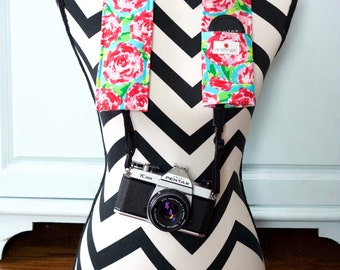 DSLR Camera Strap Cover- lens cap pocket and padding included- Pink Bloom