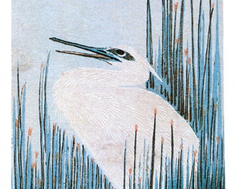 Hand-cut wooden jigsaw puzzle. WHITE EGRET & RUSHES. Hiroshige. Japanese woodblock print. Wood, collectible. Bella Puzzles.