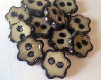 Ceramic Buttons, Small Flower Buttons, Neutral Tan Buttons,  Pottery Buttons, Clay Button, Clothing Buttons, Ceramic Beads, Price Per Button