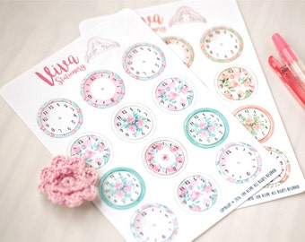 Customizable Clock Stickers - For Erin Condren Life Planner, Filofax, Happy Planner, Kikki K, personal diary, journal or calendar