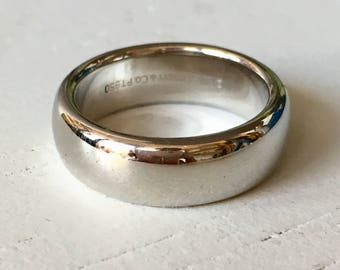Timeless Wide Platinum Wedding Band - Tiffany and Co. - Plain Band Size 4.75