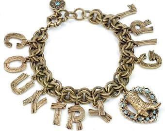 Charm Bracelet, Country Western Bracelet, Word Jewelry, Cowgirl Bracelet, Cowboy Bracelet, Gift for Friend, Cowgirl Jewelry BR327
