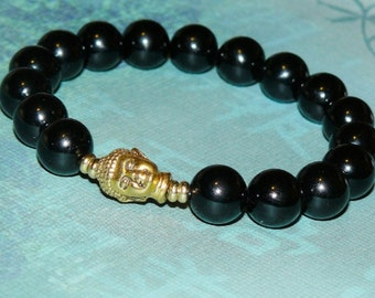 "Buddha (Gold) Black Onyx ""Healing and Protection"" Bracelet"