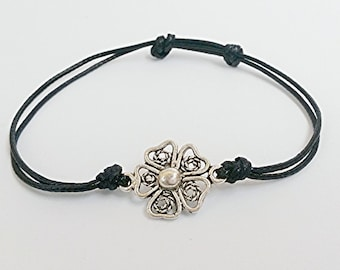 Leather Bracelet Adjustable Friendship Bracelet Handmade Bracelet  Flower Silver Bracelet with Silver Black(Women & Children)