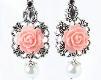 Coral Bridesmaid Earrings, coral rose earrings, coral wedding earrings, victorian rose earrings, garden wedding, rustic wedding earrings