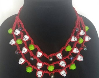 Red crochet skull necklace- Dia de los muertos