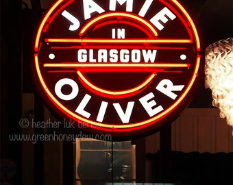 Jamie Oliver Glasgow Neon Florescent Sign Photography - Wall Decor - Photo Art Print - Red, White, Sign, Neon, Restaurant