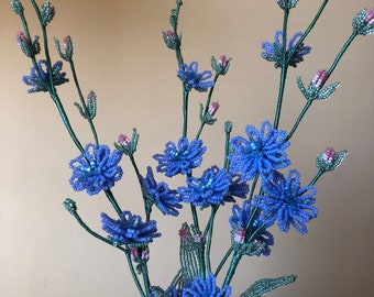 Blue chicory made of beads