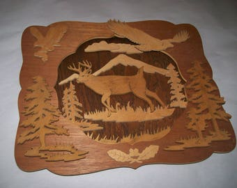 Wooden shadow box in Nature theme