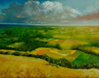 Somerset Valley - Limited Edition A3 Print Of Original Oil Painting Landscape Sky
