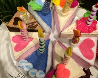 Fake cake, slice of cake,play cakes, cake game, removable candles gift,felt food, felt cake, cooking games, games for girls, felt food set