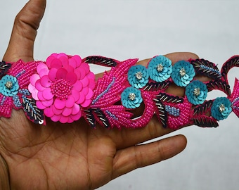Exclusive Magenta Indian Beaded Lace Trim by the Yard Handcrafted Wedding Dress tapes Bridal Belt Sashes Decorative Crafting Sari Border
