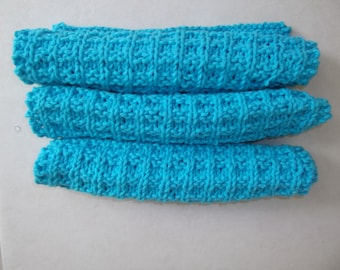 3 Hand Knit 100% Cotton Dishcloths/Facecloths in turquoise