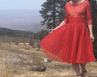 Red Vintage Lace Late 1950s Dress with Pleated Skirt, Union Label