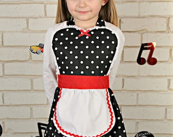 kids Retro apron in black dots with RED accents very rockabilly