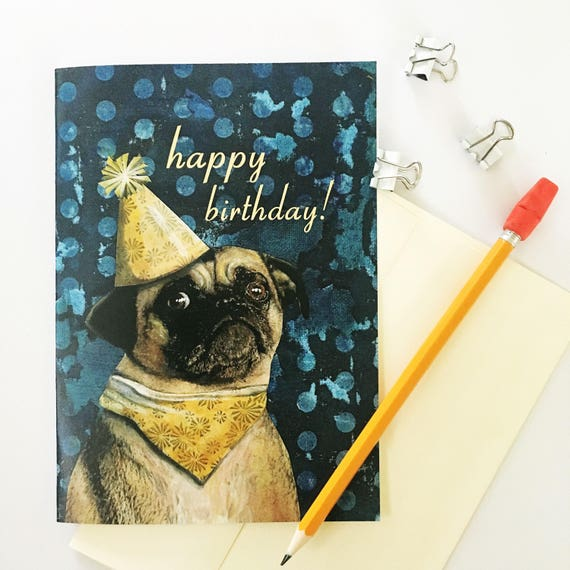 Pug birthday card happy birthday retro collage greeting like this item bookmarktalkfo Gallery