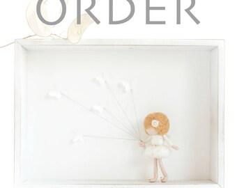 CUSTOM ORDER - Needle felted fairy doll in shadow box - butterfly fairy