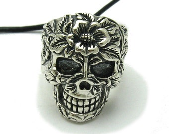 Sterling silver pendant solid 925 skull with flower ring