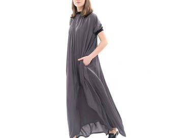 Gray  Silky flowing maxi dress