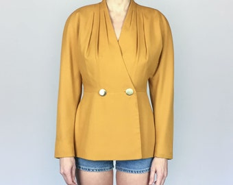 Gold Cinched Waist Long Blazer (S/M)