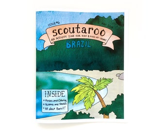 Scoutaroo Zine #6: Brazil || Activity Book Kids Learning Play Children's Book Coloring Mazes Educational Hand Lettered Comics Brasil Amazon