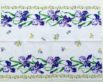 Vintage Tea Towel - Cotton & Linen Dish Towel - Purple Iris Tea Towel - Linen Kitchen Towel - Flowered Dishtowel -Irises and Daisies Pattern