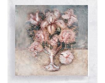 Flower Art - Botanical Print - Floral Art Block - 5x5 Canvas Print on Wood Frame - Pink Stars - Nature Art Wall Art - Home Decor